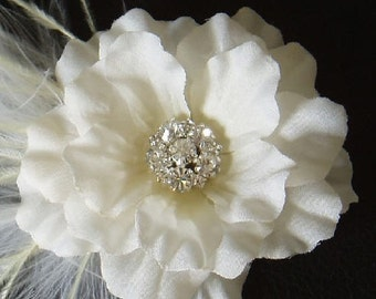 RESERVED - Small Ivory Bridal Hair Flower with a Rhinestone Jewel