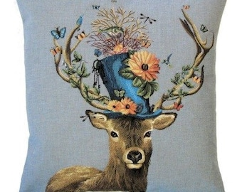 Stag Pillow Cover - Stag with Hat Pillow - Fabfunky Pillow Cover - 18x18 Belgian  Tapestry Cushion - Stag Gift - Steampunk Stag