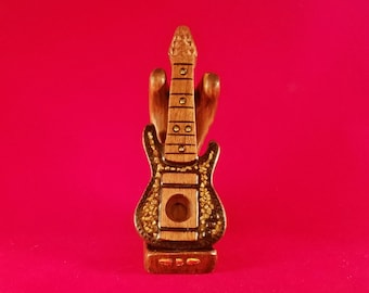 Handmade One of a kind Small wooden Guitar Shaped smoking pipe with custom stand