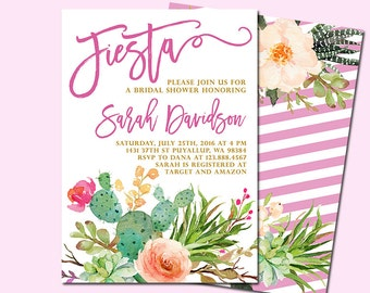 Fiesta Bridal Shower Invitation, Cactus Bridal Shower Invitation, Fiesta Birthday Invitation, Fiesta Baby Shower Invitation, Printable file