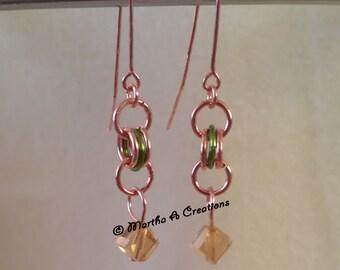 Copper Amber Pierced Earrings