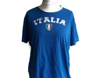 Vintage Italia Shirt, Italia Tshirt, Unisex tshirt, Blue tshirt, Soccer tshirt, Football tshirt, Sports tshirt, Graphic tshirt, Size M