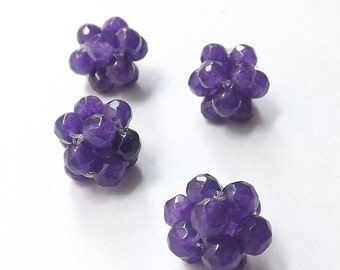 4pcs Hand woven Deep Violet Agate gemstone beads(12mm)