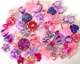 60 embellishments hearts stars pearls flowers  flat back  card making scrap booking  bling decorating frames