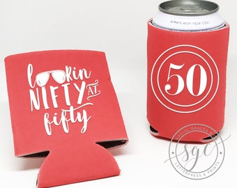 50th Birthday Can Coolers | Personalized Can Coolies | Monogram Beer Sleeves | Can Insulator | WTF fifty Party Favors | Made to Order Gifts