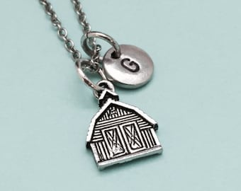 Barn necklace, barn charm, personalized necklace, initial necklace, initial charm, monogram