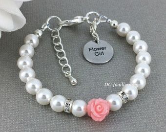 Flower Girl Bracelet White Pearl and Flower Bracelet Swarovski Pearl Bracelet Flower Girl Gift Blush Pink Bracelet Flower Girl Jewelry Gift