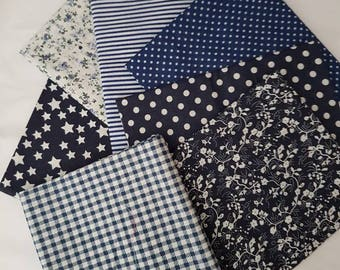 fat quarters/7 fat quarter bundle/cotton/navy/royal blue/blue/stripes/spots/polka dots /navy/floral light weight/craft fabric/doll's //craft