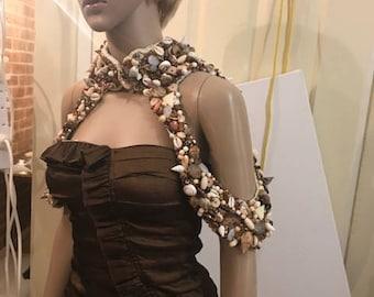 BEACHES Hand Sewn boho shoulder necklace shrug shawl bodice