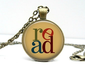Stacked Read Necklace : Glass Art Pendant Picture Pendant Photo Pendant Handcrafted Jewelry  (1702)