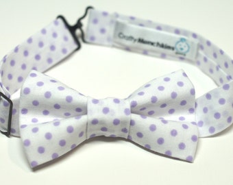 Bow Tie - White with Purple Polka Dots Bowtie