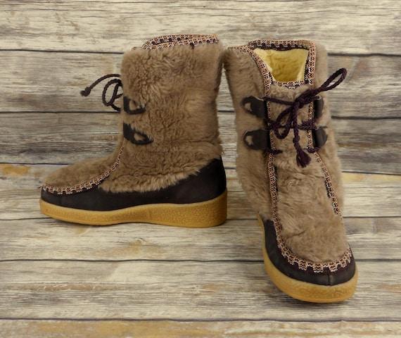 Boots Faux Size Snowland Vintage 7 Womens Winter Ladies Sherpa Shoes Fur  Snow xEOqOwYg 88db418d1
