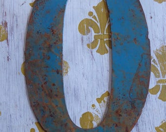 """Large Metal Letter O  7"""" x  10""""  VINTAGE Sign Letter With Rust and Aging"""