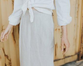 vintage beige linen pencil skirt with pockets