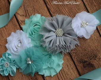 Sash, Mint , white and grey Sash , flower Belt, maternity sash