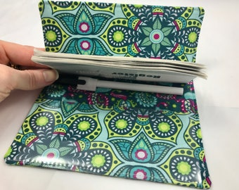 Duplicate Checkbook Cover with Pen Holder - Duplicate Checkbook Register - Fabric Checkbook Cover Bloom Henna Blossom in Teal