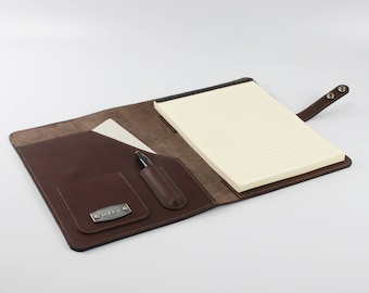 Personalized Leather Portfolio, Personalized Notebook, Men's Gift, Graduation Gift,  Business Portfolio, Notepad holder, Personalized Gift.
