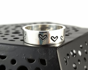 Sterling Silver Stamped Heart Ring, Handmade Gifts for Her, Custom sized