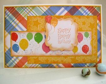 happy happy birthday,birthday greetings,handmade birthday card,balloons,glitter balloons,stars,plaid,primary colours,3d birthday card