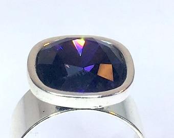 SQUARE SWAROVSKI RING purple violet crystal silver plated 12mm stone adjustable avant garde art nouveau art deco boho futuristic seventies