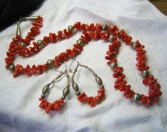 Vintage Sterling Red Coral Necklace Earrings