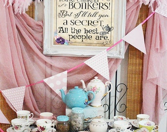Mad Hatter Tea Party Poster - INSTANT DOWNLOAD - Bonkers Quote Alice in Wonderland Pastel Birthday Baby Shower Printable Sign Decoration