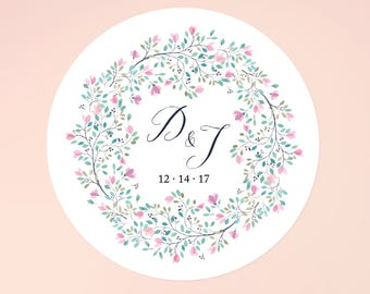 Floral Wedding Stickers, Monogram Stickers, Personalized Stickers, Wedding Labels, Wedding Favor Stickers, Thank You Stickers, Save the Date