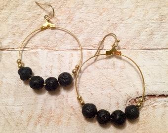 Diffuser Earrings, Lava Stone Earrings, Essential Oil Diffuser Earrings