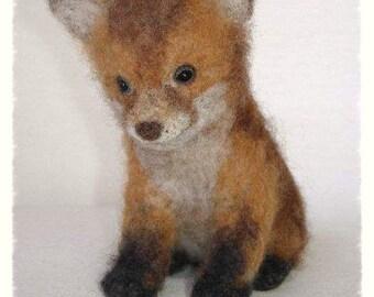 Ooak Needle Felted Red Fox Cub