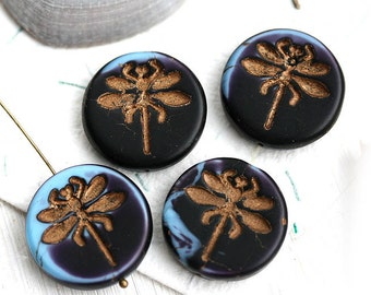 Dragonfly bead, czech glass bead, Dark Blue bead with patina, large, round, tablet shape, matte, coin shape - 23mm - 2Pc - 0161