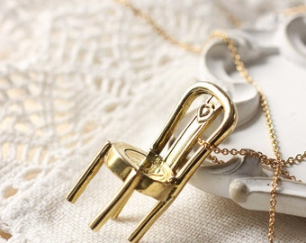 Tiny charm chair necklace,little charm chair necklace,brass chair necklace,charm chair pendant necklace,brass tiny chair necklace,