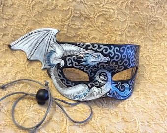 READY TO SHIP Blue and White Dragon Mask... original leather masquerade costume Venetian mardi gras halloween burning man festival