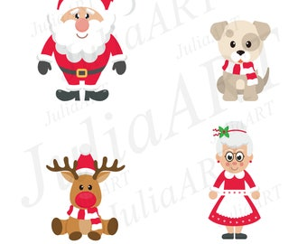 cartoon christmas set elemets and people vector image