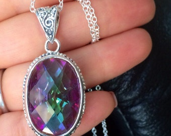 Sale Mystic Topaz Necklace. Rainbow crystal. Sterling Silver. Long necklace
