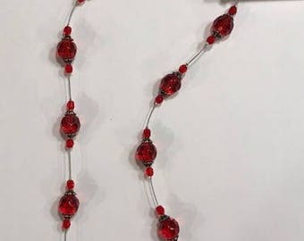 Red Bead Necklace with Pewter toggle clasp and accents - Valentines Day