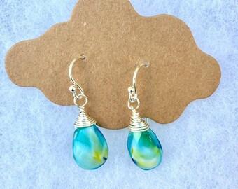 Beach Earrings ,Sterling Wire Wrapped Earrings, Birthday Earrings, Birthday Gifts, Teardrop Earrings , Natashaaloha