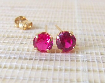 Ruby Gold Fill Earrings Lab Created July Birthstone 6mm