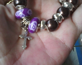 Wine and Royal purple, with Christian cross, Euro style bracelet