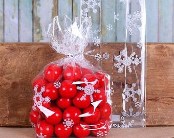 Christmas Cookie Bags, Medium Snowflake Cellophane Bags & Twist Ties, Favor Bags, Candy Bags, Snowflake Favor Bags, Goodie Bags, Sweet Bags