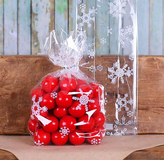 Medium Snowflake Cellophane Bags & Twist Ties