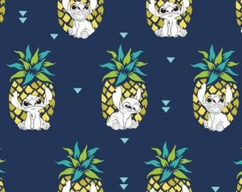 Navy Lilo & Stitch Pineapple Cotton Woven Fabrics by Camelot Fabrics