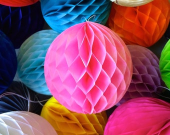 Pink 8 Inch Honeycomb Tissue Paper Balls - Paper Party Decor Decoration Supplies