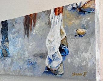 "Original Horse Shoes Oil Painting 8""x24"" horseshoe farrier art"