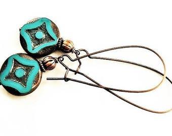 Green Earrings Glass Jewelry Vintage Style Copper Earrings Bohemian Jewelry Gypsy Earrings Casual Jewelry Long Earrings Gift Boho Earrings
