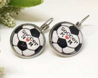 Soccer Mom Earrings - Soccer Mom Jewelry - Small Leverback Earrings - Soccer Mom Gift Idea - Gift for Mom - Soccer Jewelry