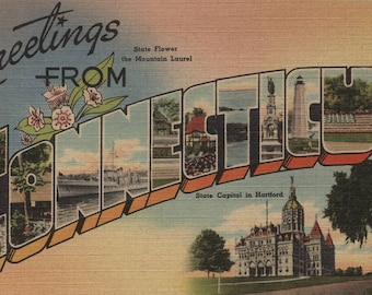 Greetings from Connecticut - Vintage Halftone (Art Print - Multiple Sizes Available)