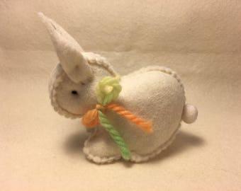 White Easter bunny rabbit Australian made - wool felt Waldorf inspired