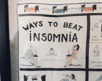 "Vintage ""Ways to Beat Insomnia"" Handkerchief"