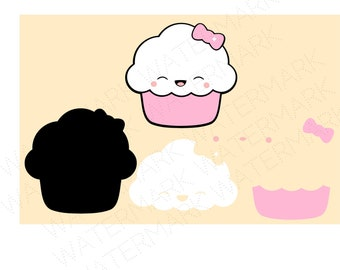 Cute Cupcake With Face Cutout Files for Cricut SVG and Silhouette Studio File Cut Out Stencil Decal Logo SVGS Fantasy Face Decoration