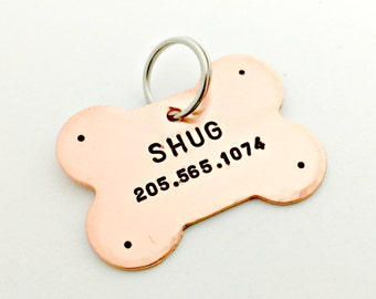 Personalized Pet ID Tag - Custom Dog Tag - Hand Stamped Identification Name Tag for Collar - Copper Bone Tag - Name & Phone Number if Lost